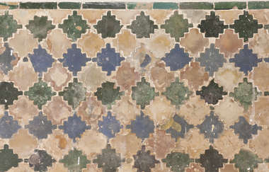 moorish tile ornate pattern old worn medieval zellige zillij zellij