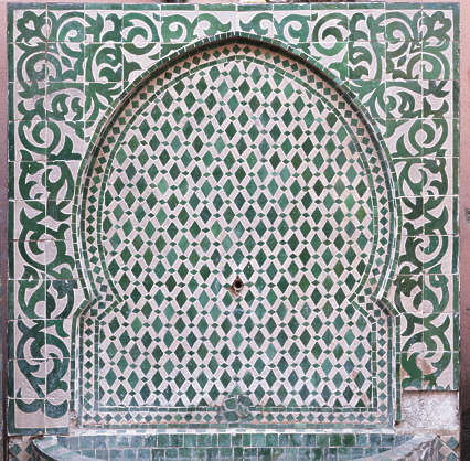 tiles zellige morocco ornate moorish fountain arch border