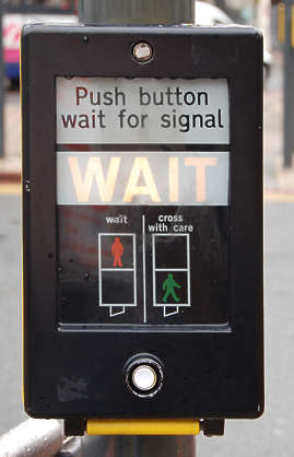 zebra crossing sign button