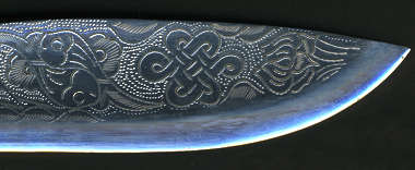knife metal blade decorated