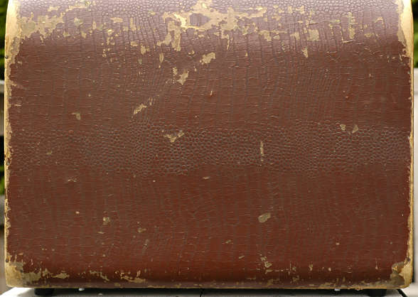 suitcase leather fake cardboard old worn damaged