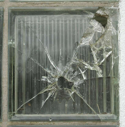 window tiles glass blocks broken shattered