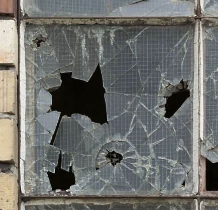 window broken glass