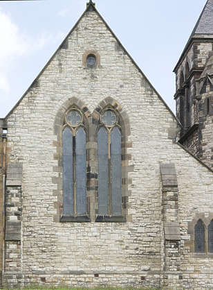 UK building facade medieval church window