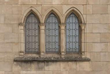 window ornate church arches old