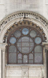 window cathedral arch ornate stained glass new york ny united states usa