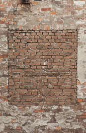 brick small modern window bricked derilict
