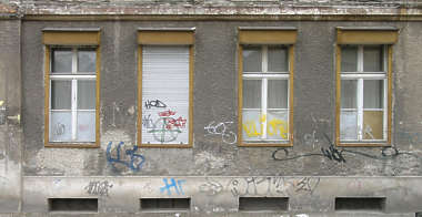 building facade old window house