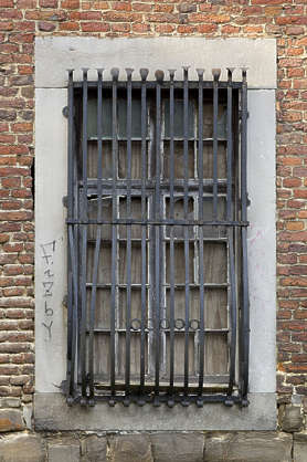 window medieval old barred bars