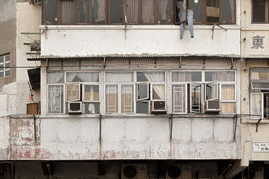 window windows hong kong old appartment building facade house asian towerblock