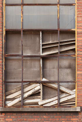 window derilict broken old industrial