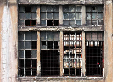 window industrial broken hole derelict big