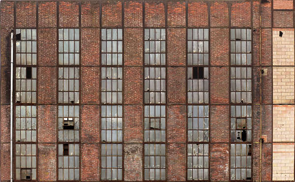 windows industrial window broken large building facade factory