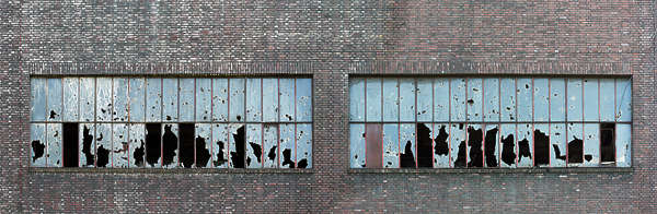 window industrial broken facade