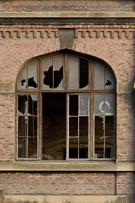 window derelict broken building facade windows factory industrial