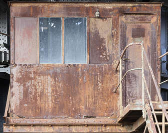 metal rusted cabin digger window windows