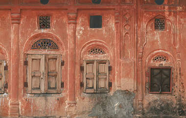 india facade building window windows shutters plaster old shutter