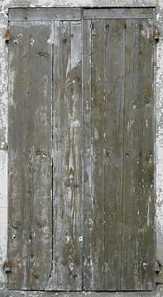 wood planks painted window shutters bare old