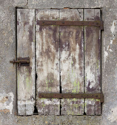 window door wooden old weathered medieval