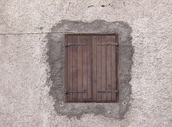 window closed planks wood concrete