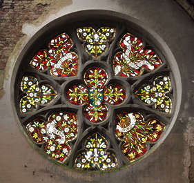 stained glass window round church ornate