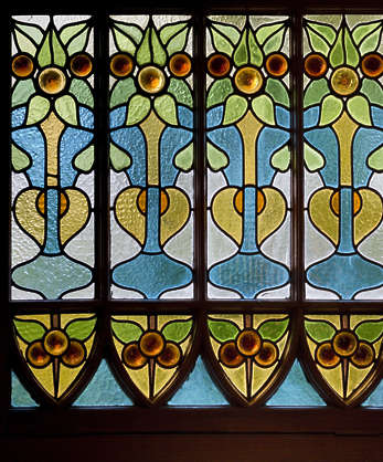 glass leaded ornate old jugendstil