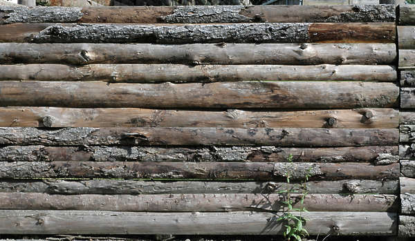 wood planks old round logs rough