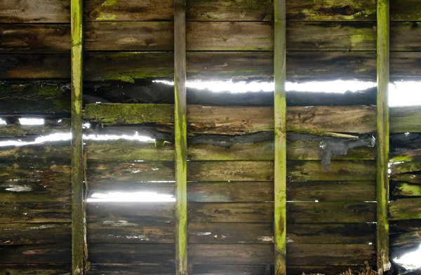 roofing roof inside planks old holes