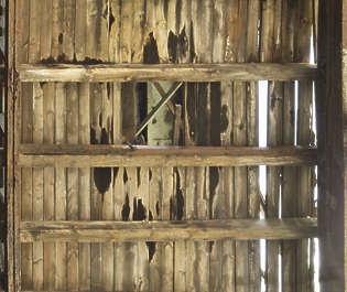 wood plank planks old damaged catwalk wooden roofing inside