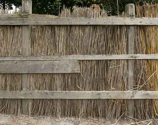 fence thatched reed reeds old