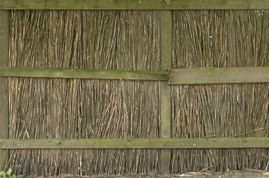 fence thatched reed reeds old mossy