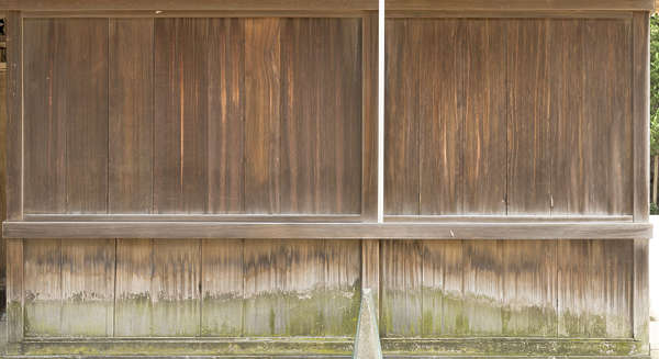 wood planks old temple shrine facade worn japan bare moss