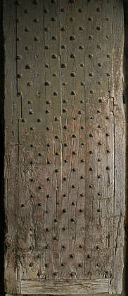 wood armored planks nails studded door medieval