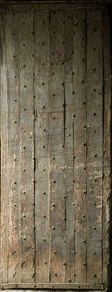 wood armored planks nails studded medieval door
