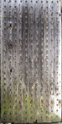 wood door studded nails medieval
