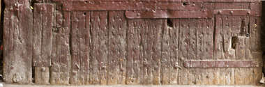 wood studded armored old medieval door worn morocco reinforced